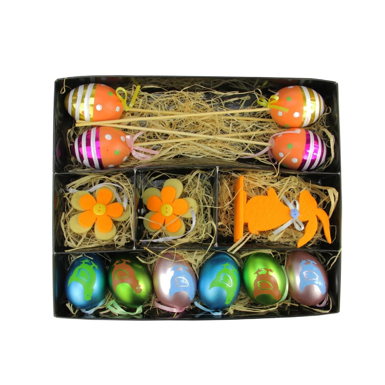 Metallic Easter Egg Flower And Bunny Spring Decorations