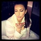 Kim Kardashian blew a goodnight kiss to her fans. Source: Instagram user kimkardashian