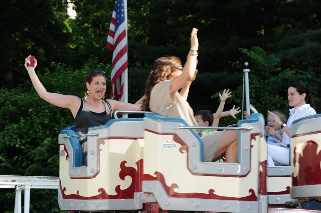 Debra Messing and Mariska Hargitay rode the roller coaster at the 2013 Baby Buggy Bedtime Bash.