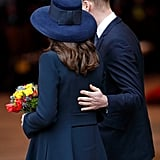 Will kept his hand on pregnant Kate's back during Commonwealth Day service in March 2018.