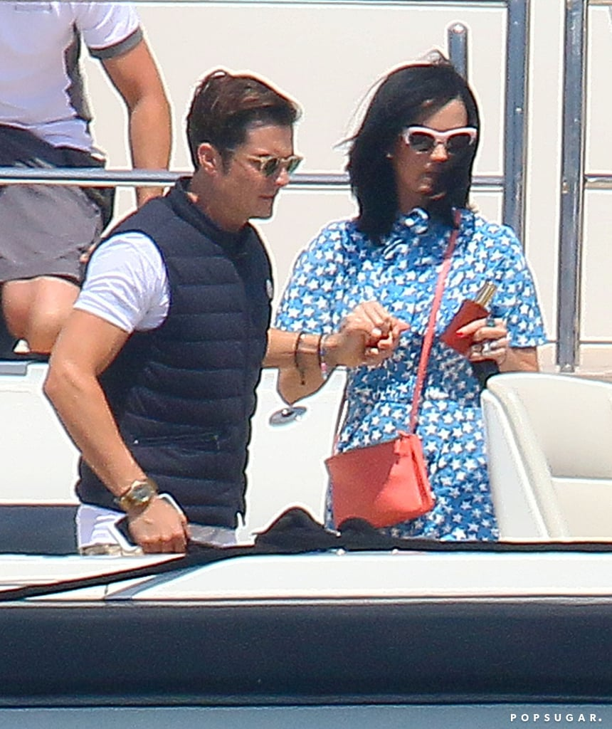 After expertly brushing off rumors that Orlando Bloom was cheating on her with Selena Gomez, Katy Perry joined her boyfriend for an uberromantic trip to Cannes over the weekend. The pair, who has been dating since they cozied up to each other at the Golden Globes in January, looked totally in love as they basked in the sun together on a friend's yacht on Sunday. Two days later, Orlando helped Katy onto another boat when they enjoyed a ride on the waves. Although Katy and Orlando have kept their relationship relatively private so far by showing up to events separately, they flaunted their coupledom at the Met Gala in early May and got close at Coachella last month. Check out more photos of their afternoons at sea below, and then hear Katy belt it out at the ACM Awards!