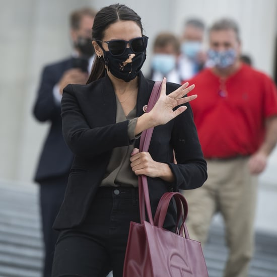 Alexandria Ocasio-Cortez Carrying Red Telfar Shopping Tote