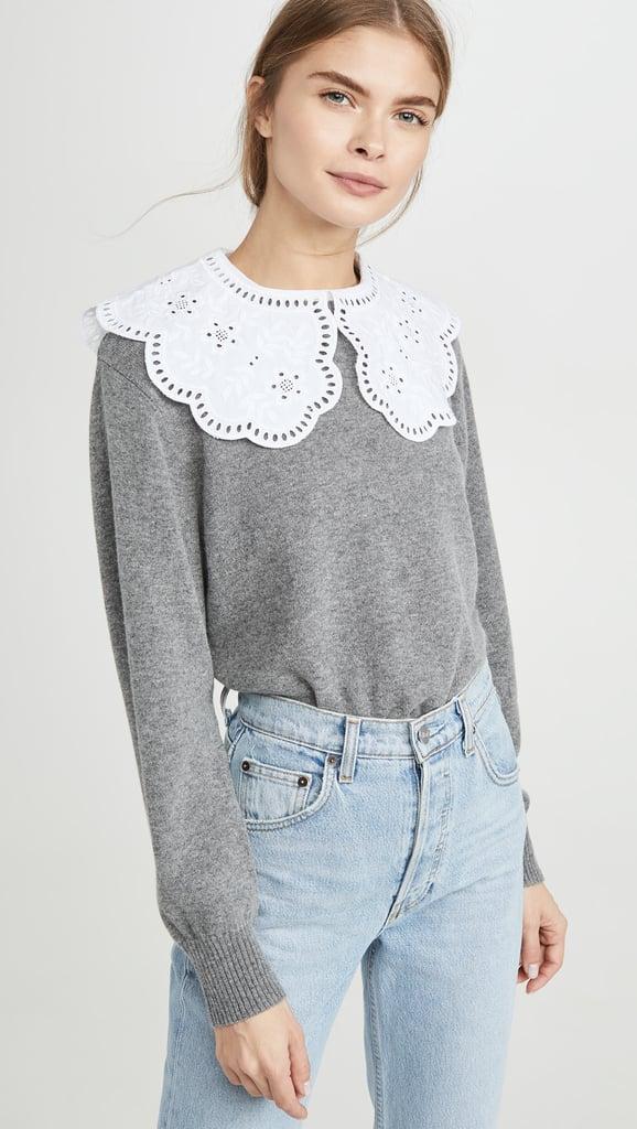 Sea Zippy Lace=Collar Sweater