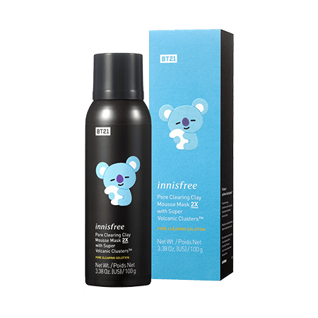 Innisfree BT21 Limited Pore Clearing Clay Mousse Mask 2X With Super Volcanic Custers in Koya