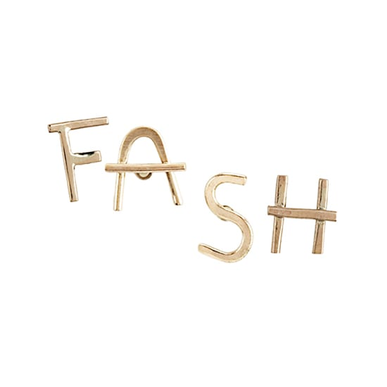 Melissa Joy Manning Alphabet Earrings, $75 each (we chose: F, A, S, H)