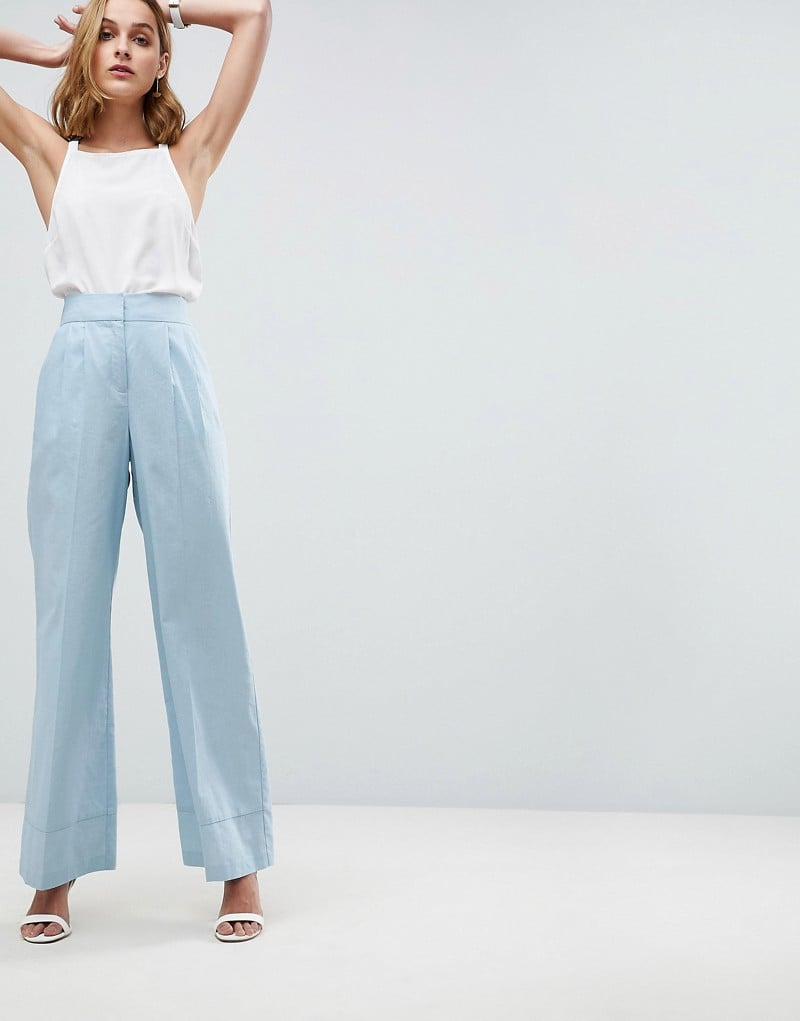 ASOS Tailored Clean Linen Wide Leg Pants   Kourtney Kardashian Blue ... d4f718f306