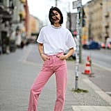 The easiest way to test the waters of colored jeans is with a simple tee on top.