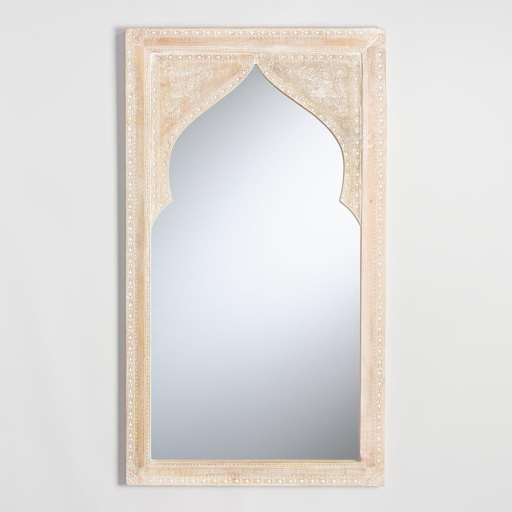 Whitewash Wood Mehrab Asana Wall Mirror ($200)