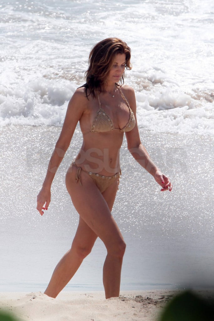 Stephanie Seymour took a bikini-clad stroll on the beach.