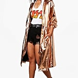 Boohoo Hayley Metallic Hooded Maxi Rain Coat