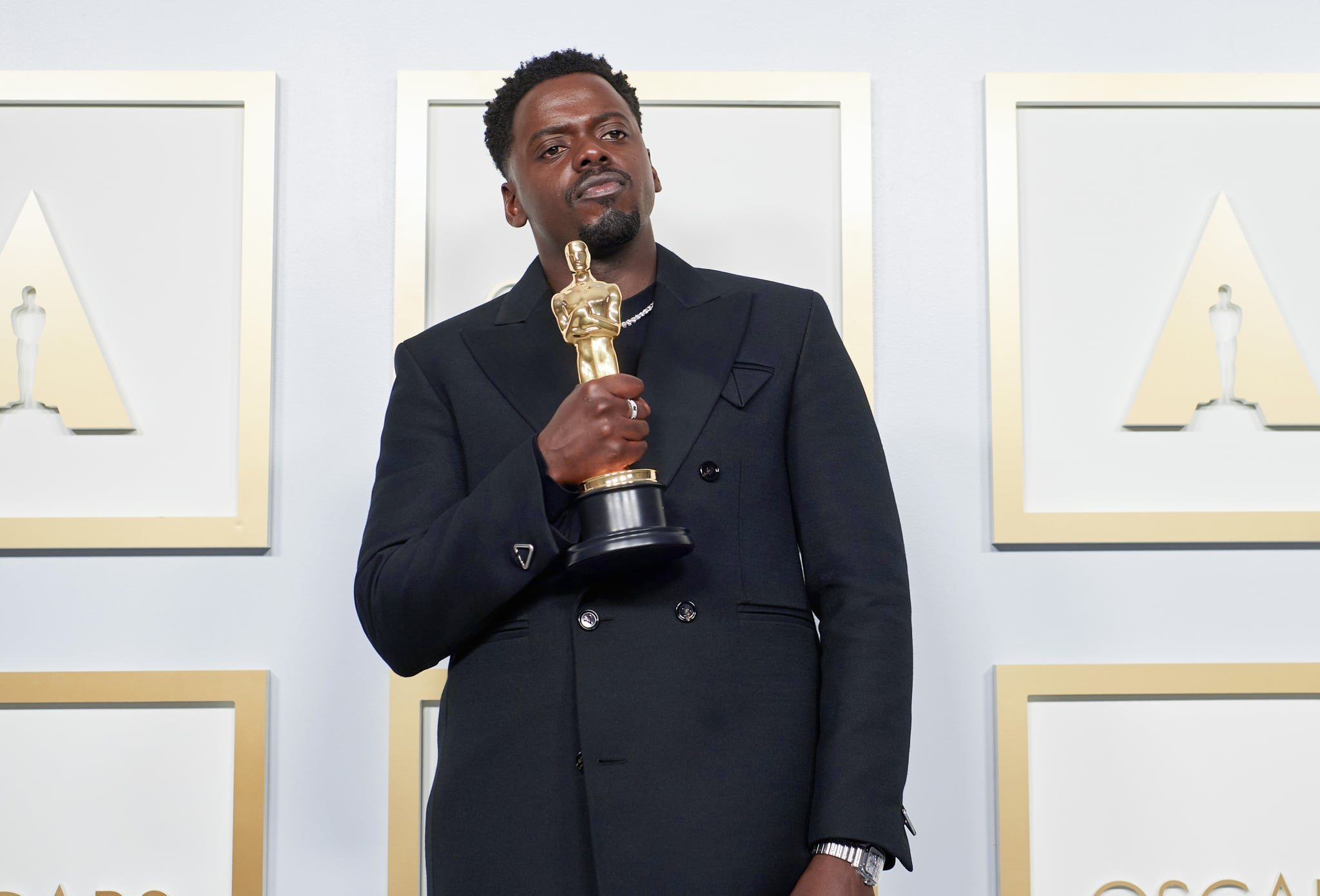 LOS ANGELES, CALIFORNIA – APRIL 25: (EDITORIAL USE ONLY) In this handout photo provided by A.M.P.A.S., Daniel Kaluuya poses with the Best Actor in a Supporting Role award for 'Judas and the Black Messiah' in the press room during the 93rd Annual Academy Awards at Union Station on April 25, 2021 in Los Angeles, California. (Photo by Matt Petit/A.M.P.A.S. via Getty Images)