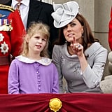 Kate shared a sweet moment with Lady Louise Windsor during the flypast.