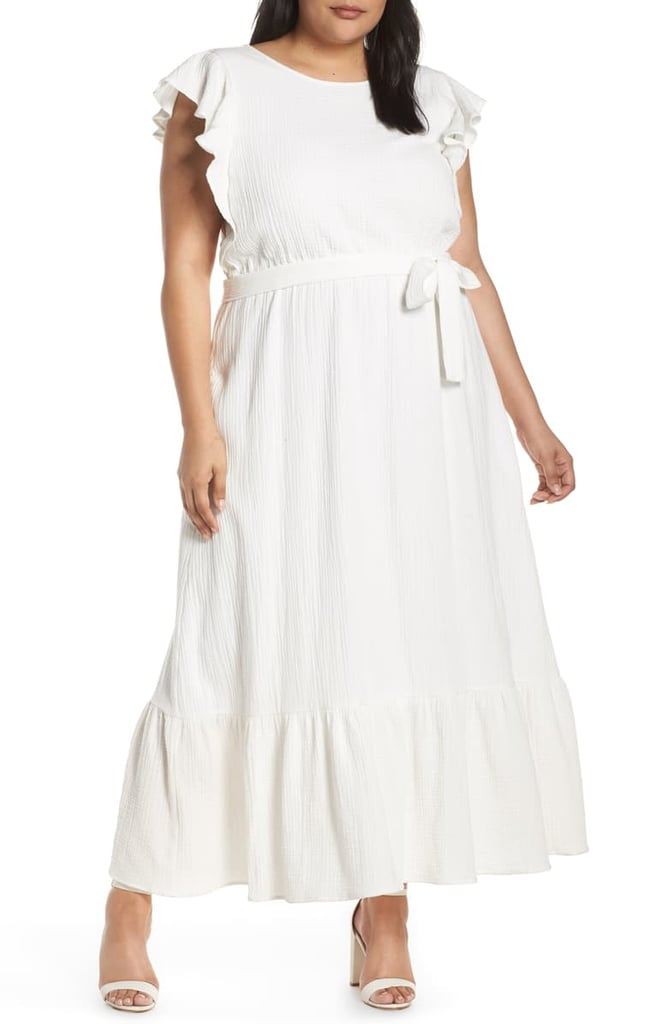 Chelsea28 Ruffle Sleeve Cotton Maxi Dress