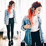 A White Top, Black Pants, a Denim Jacket, and Black Shoes