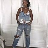 She Styled the Lace Camisole With Denim