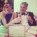 Michelle Dockery and Jim Carter have a special connection on Downton Abbey, and after the Emmys, the stars shared sipped champagne at the Game of Thrones table.