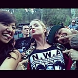 Mena Suvari sported an N.W.A. t-shirt for a concert with friends. Source: Instagram user mena13suvari