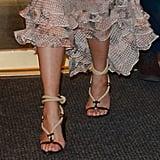 Chrissy Teigen Wearing Saint Laurent Rope Heels