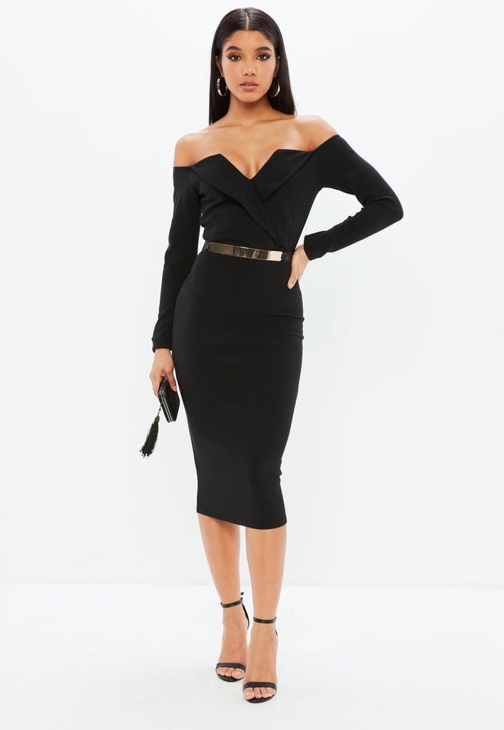 0bf4b9f09cbf Missguided Black Bardot Foldover Wrap Midi Dress | Meghan Markle ...