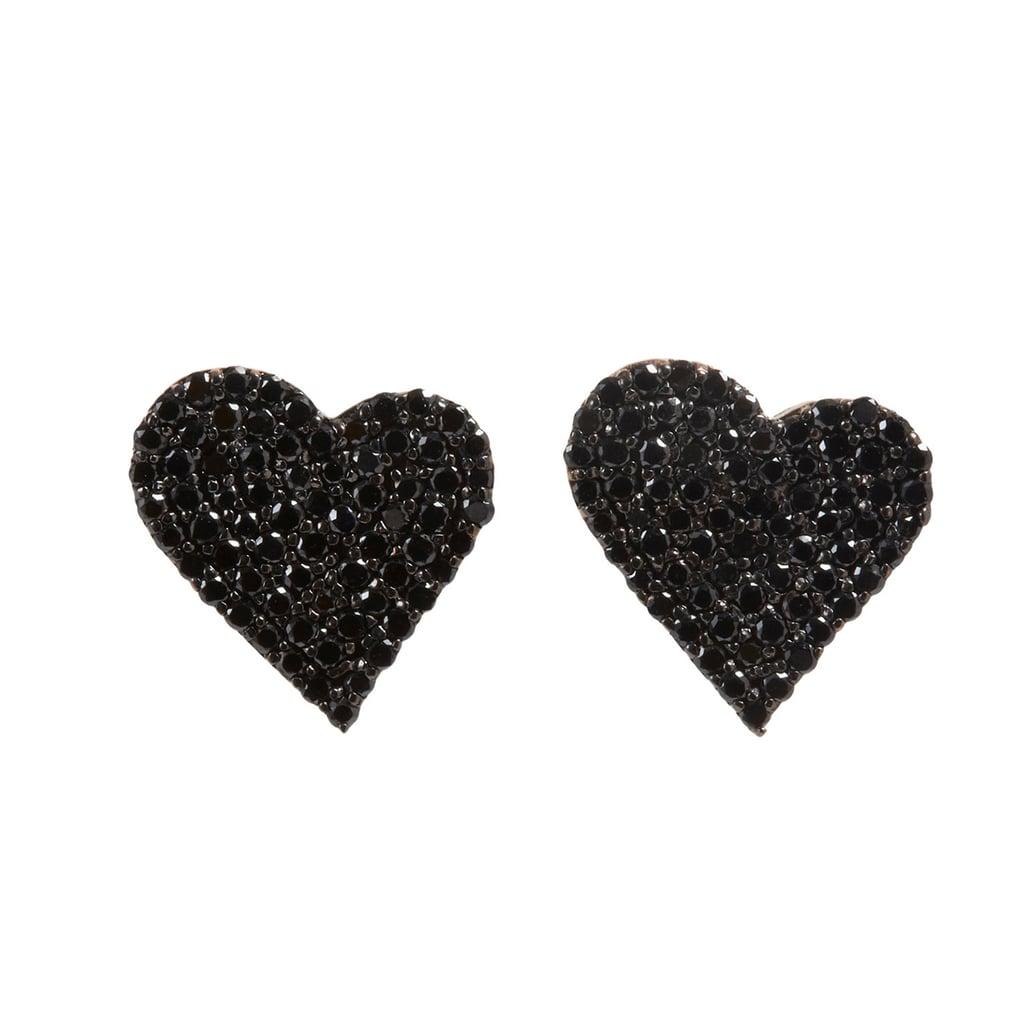 Alexandra Moosally Black Diamond Heart Earrings