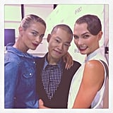 Jason Wu posed backstage with Carolyn Murphy and Karlie Kloss at his show. Source: Instagram user karliekloss
