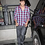 Ashton Kutcher wore a plaid shirt.