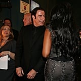 John Travolta and Jennifer Hudson backstage at the 2013 Oscars.