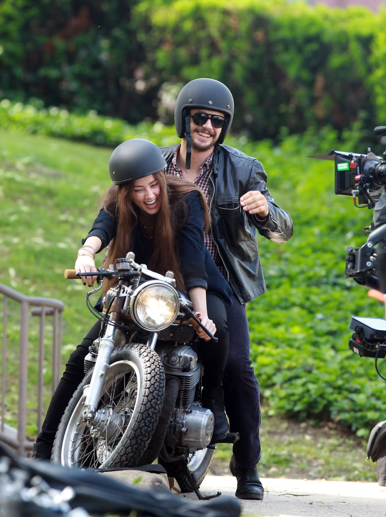 On Wednesday, Amber Heard and James Franco laughed as they got on a motorcycle while filming The Adderall Diaries in NYC.