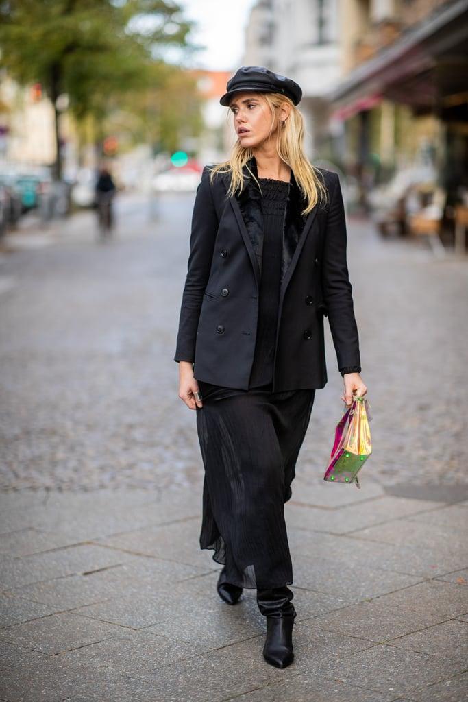 dd4c7669a0c Wear a Blazer Over a Midi Dress and Accessorize With a Newsboy Cap ...