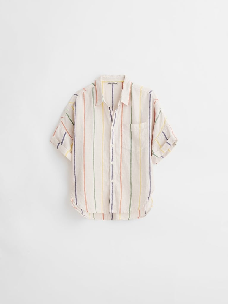 Alex Mill Charlie Shirt in Sugar Stripe Linen