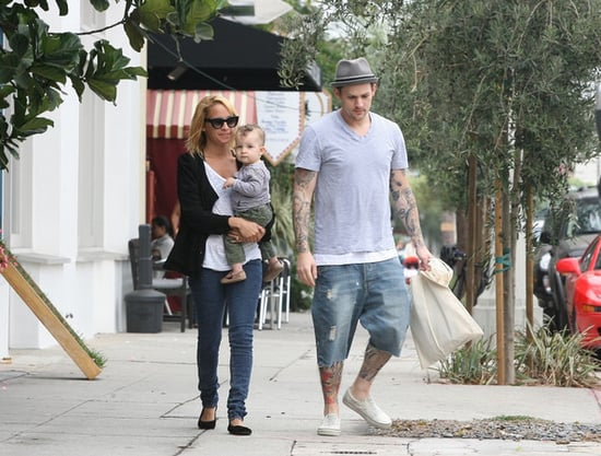 Nicole Richie and Joel Madden take their son Sparrow shopping in Los Angeles., on Nicole's 29th birthday