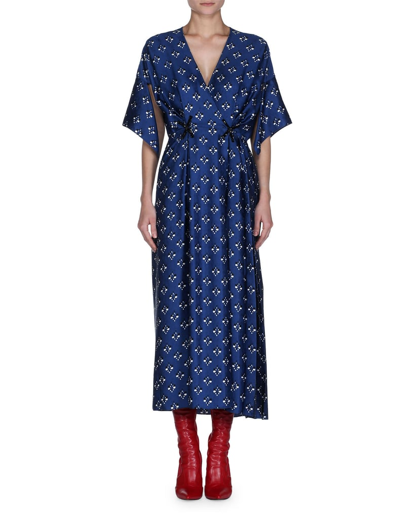 Fendi Handkerchief Sleeve Silk Wrap Dress