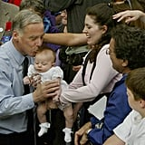 Howard Dean kissed a baby during a John Kerry rally in Portland in 2004.