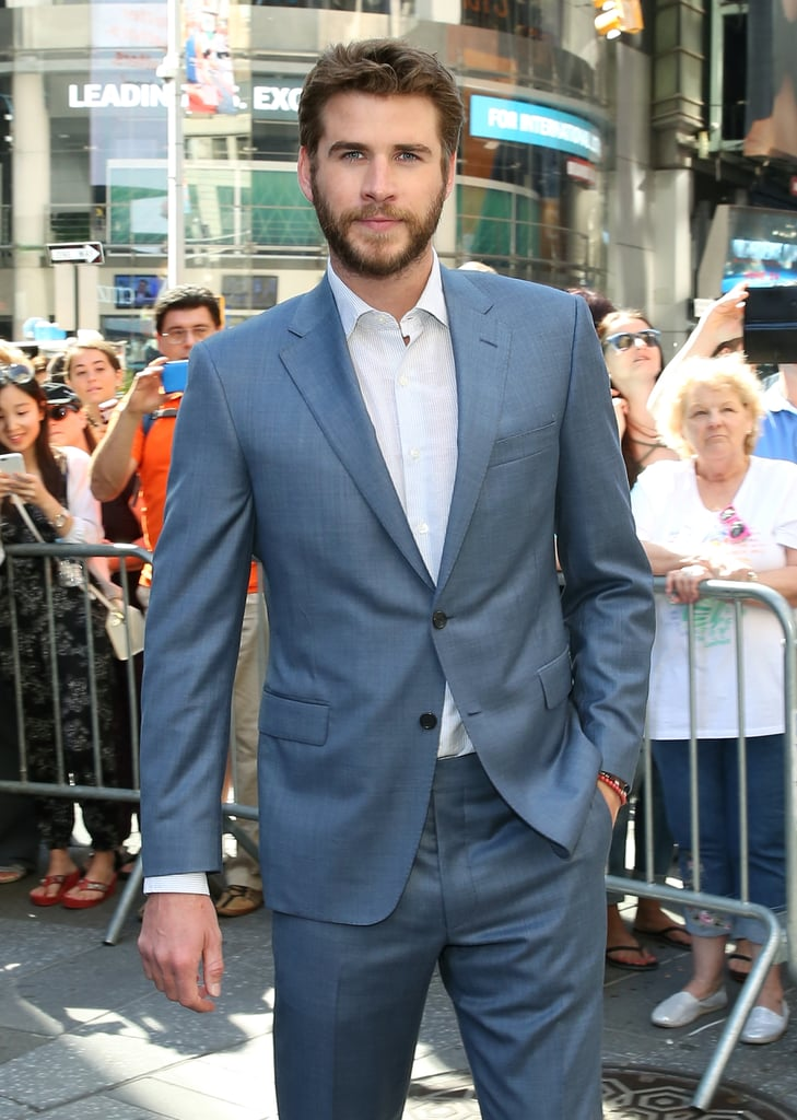 It's been far too long since Liam Hemsworth hit the red carpet to promote a film, and we were starting to go through withdrawals. The last press tour he did was for The Hunger Games: Mockingjay — Part 2 last year, and after some rest and relaxation — including rekindling his romance with Miley Cyrus and lots of surf sessions with his brothers Down Under — the 26-year-old Aussie actor is back and looking better than ever.  Liam kicked off his promo tour of Independence Day: Resurgence with a photocall in his native Australia earlier this month and looked just as stunning as the Sydney Opera House backdrop. Last week, he linked up with costar Jeff Goldblum in London, posed in front of a car that was wrapped with his own gorgeous face, and told funny stories about Jennifer Lawrence on late night TV. . Cut to Tuesday, and he's back in the Big Apple to ring the NASDAQ opening bell and make a handsome (and hilarious) appearance on The Tonight Show. The big question is: will Miley join her fiancé on the red carpet for any upcoming premieres?