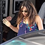 Mila Kunis wore a blue tank top with flowers on it for a lunch date with Ashton Kutcher.