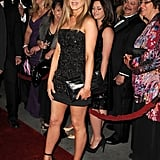 In 2012, Jennifer wore a black embellished mini dress with stilettos.