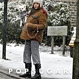 A pregnant Jenna Dewan explored the London snow with her dog in April 2013.