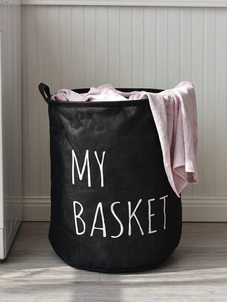 Slogan Print Round Storage Basket