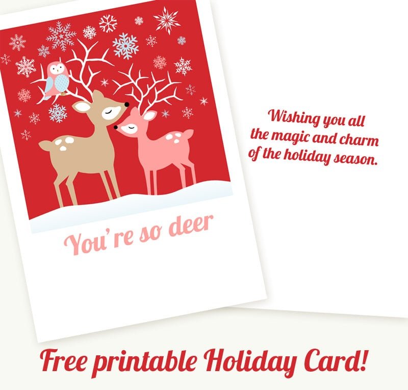 picture about Free Printable Holiday Cards called Punny Reindeer Card Free of charge Printable Xmas Playing cards