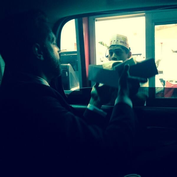 Olivia Wilde and Jason Sudeikis enjoyed a post-Oscars feast at In-N-Out. Source: Twitter user oliviawilde