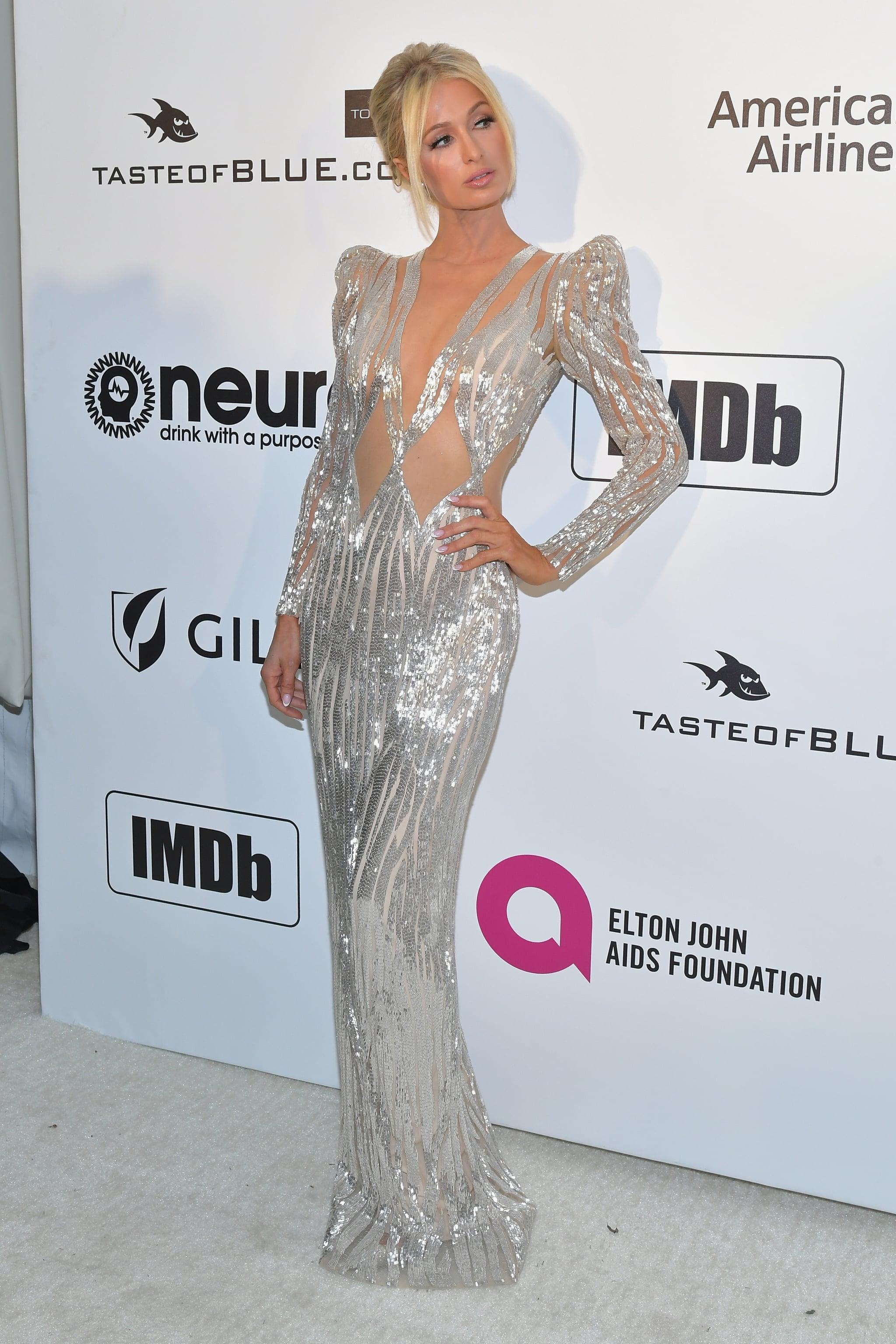 Paris Hilton at the 2019 Elton John AIDS Foundation Academy Oscars ...