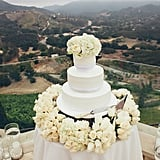 You may not see a lot of cakes displayed with such a stunning backdrop, but this one's tiered shape and beaded texture is familiar in the best way possible.