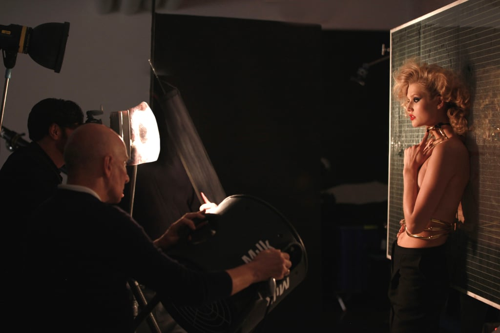Behind the scenes at the campaign shoot.