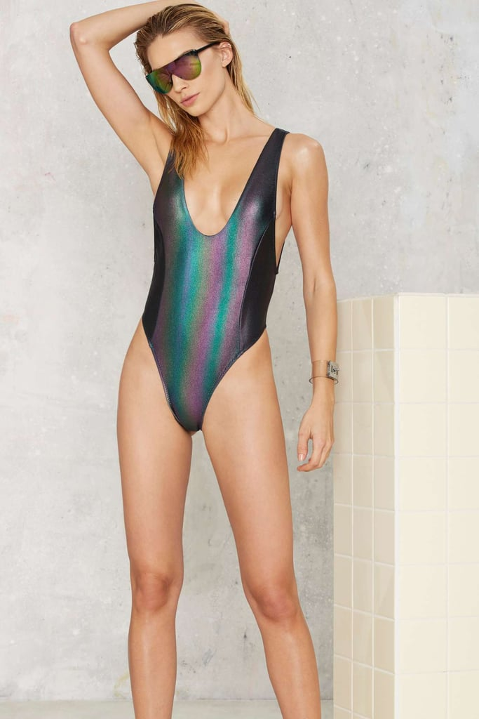 Nasty Gal Skye Oil Slick Hologram Swimsuit ($98)