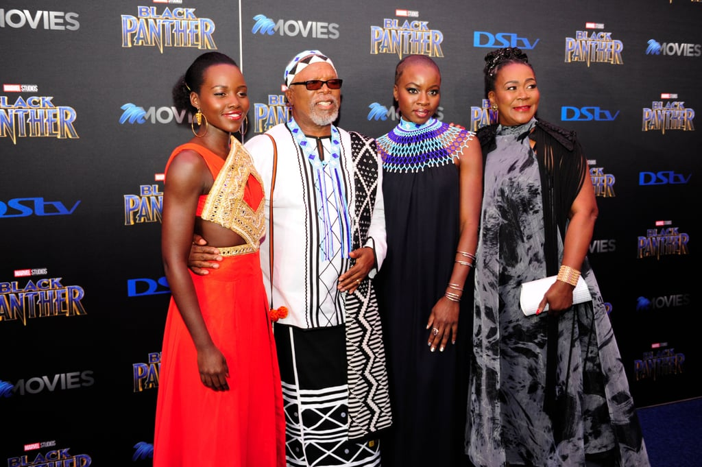 Black Panther stars Lupita Nyong'o and Danai Gurira stunned on the red carpet for the movie premiere in Johannesburg, South Africa on Friday. Lupita and Danai were joined by their costars  John Kani and Connie Chiume and posed for photos before heading inside the big event. The actress both play badass warriors in the film, but off screen, they also have an unbreakable bond that's admirable to watch. Keep reading to see more photos from the South African premiere, then check out the devastatingly gorgeous photos of the cast at the LA premiere back in January.