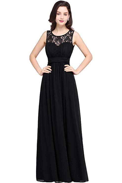 Babyonlinedress Sleeveless Slim Fit Lace Chiffon Dress