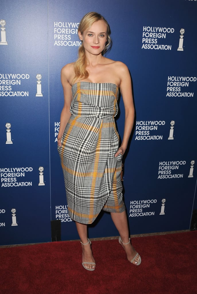 Diane Kruger paired her plaid Carven dress with simple Stuart Weitzman sandals at The Hollywood Foreign Press Association's luncheon.