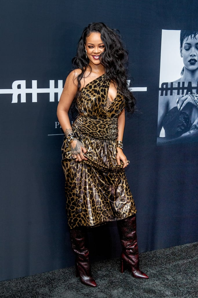 A big release from Rihanna warrants a big outfit. The 31-year-old songstress stepped out in New York on Oct. 11 to celebrate the launch of her first Visual Autobiography at the Guggenheim Museum. She would've stolen the show no matter what outfit she wore, but Rihanna is never one to do things half-way. She took this year's animal print trend to a whole new level by mixing styles in a chic yet bold way.  Rihanna opted for a one-shoulder pleated Saint Laurent leopard print dress and burgundy python knee-high boots for the occasion. She tied the wild look together with David Webb jewellery and tiny black sunglasses, letting the rest of the ensemble speak for itself. She's no stranger to a statement-making outfit, and this look is no exception. Keep reading to see her outfit from all angles.       Related:                                                                                                           You Bet Your Ass Rihanna's Designing Her Own Wedding Dress