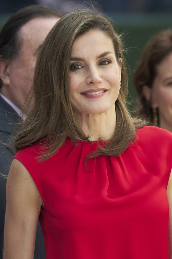 8ccf9f46afb9 Queen Letizia Red Laser-Cut Heels June 2017. Queen Letizia Is the Candy Cane  of Your Dreams in This Red and White Outfit