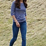 Kate chose to highlight the true blue shade of her denim with a boat-neck top and Sebago shoes.